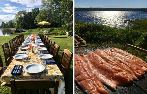 Planked Salmon Supper at Lane's Privateer Inn